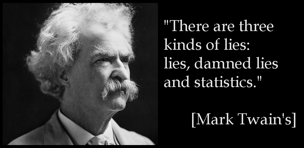 """There are three kinds of lies: lies, damned lies and statistics."" [Mark Twain's]"